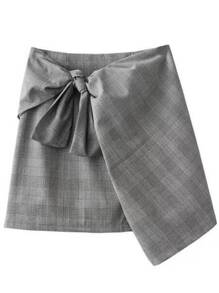 Grey Plaid Zipper Skirt With Tie