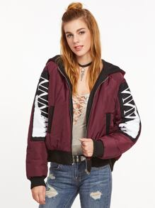 Double Side Wear Letter Print Hooded Coat