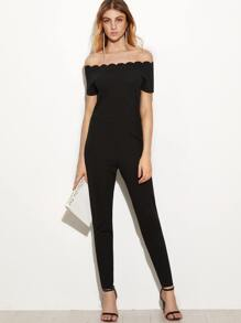 Black Scallop Off The Shoulder Peg Jumpsuit