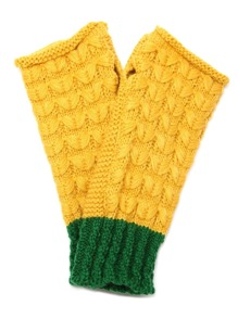 Yellow And Green Knit Thermal Long Fingerless Gloves