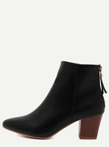 Black Point Toe Back Zipper Cork Heel Ankle Boots