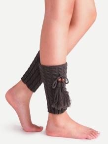 Dark Grey Cable Texture Knit Tassel Leg Warmers