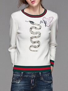 White Snake Sequined Striped Sweater