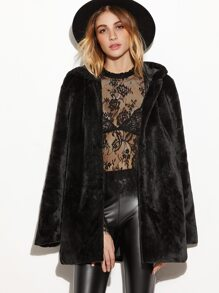 Black Open Front Faux Fur Hooded Coat