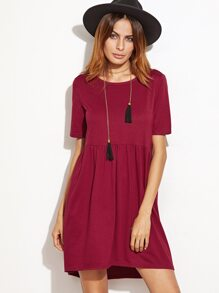Burgundy Short Sleeve High Low Babydoll Dress