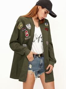 Olive Green Pocket Front Bomber Jacket With Patch Detail