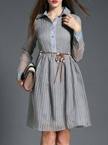 Grey Lapel Sheer Tie-Waist Dress