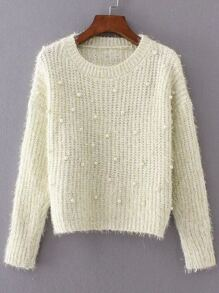 Beige Round Neck Long Sleeve Beaded Sweater