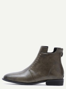 Olive Green Almond Toe Back Zipper Ankle Boots