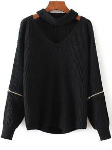 Black Choker V Neck Zipper Detail Sweater