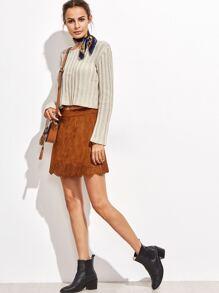 Camel Faux Suede Laser Cutout A Line Skirt