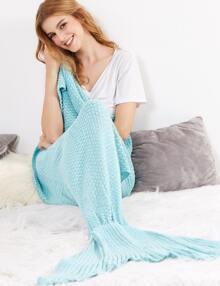 Light Blue Crocheted Fish Tail Design Mermaid Blanket