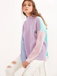 Color Block Funnel Neck Eye Embroidered Sweater