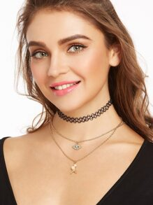 Black Layered Eye And Tower Pendant Choker Necklace