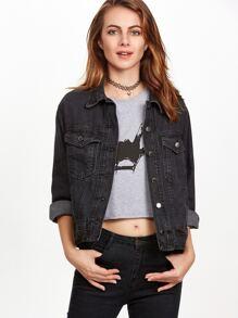 Black Single Breasted Pockets Denim Jacket