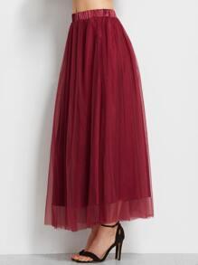 Burgundy Elastic Waist Mesh Overlay Skirt