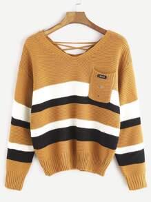 Khaki Double V Neck Lace Up Back Striped Sweater