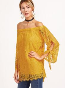 Yellow Off The Shoulder Tie Sleeve Floral Lace Top