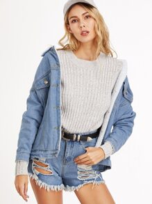 Blue Dropped Shoulder Seam Sherpa Lined Denim Jacket