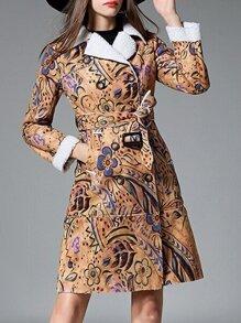 Khaki Lapel Vintage Print Tie-Waist Coat