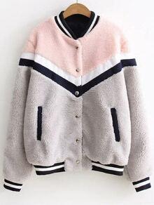 Color Block Striped Trim Faux Shearling Jacket