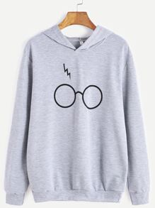 Grey Eyeglass Print Hooded Sweatshirt