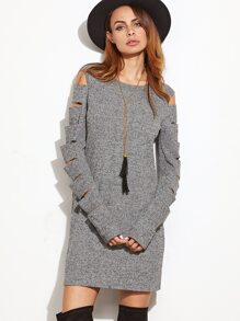 Grey Marled Ribbed Knit Ladder Cutout Sleeve Dress