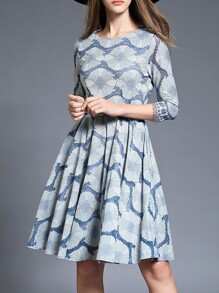 Grey Belted Jacquard A-Line Dress