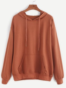 Khaki Drop Shoulder Hooded Sweatshirt