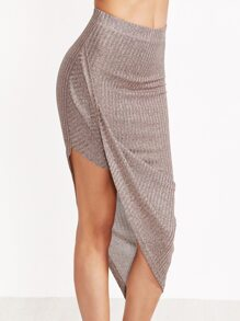 Coffee Marled Ribbed Knit Asymmetric Draped Skirt