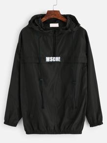 Black Print Drawstring Hooded Sweatshirt With Zipper Detail