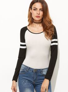 White Contrast Varsity Striped Raglan Sleeve Bodysuit