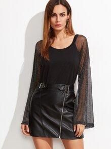Black Contrast Mesh Raglan Sleeve T-shirt