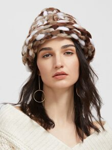 Coffee Handmade Knitted Coarse Line Hat