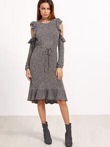 Grey Marled Open Shoulder Drawstring Waist Ruffle Dress