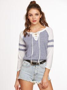 Contrast Raglan Sleeve Lace Up Curved Hem T-shirt