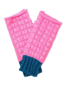 Pink And Blue Knit Thermal Long Fingerless Gloves