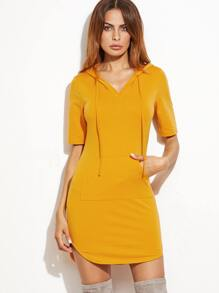Yellow Drawstring Hooded Pocket Front Bodycon Dress