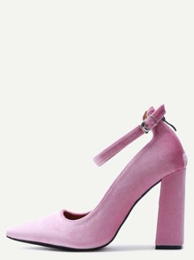 Pink Velvet Point Toe Ankle Strap Heeled Pumps