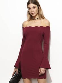 Burgundy Scallop Edge Bell Cuff Off The Shoulder Dress