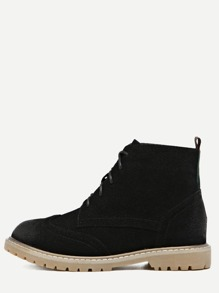 Black Nubuck Leather Lace Up Wingtip Boots