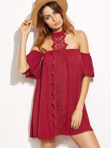 Burgundy Embroidered Lace Applique Halter Neck Dress