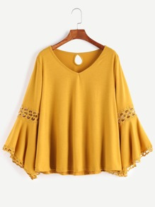 Yellow V Neck Contrast Crochet Keyhole Back T-shirt