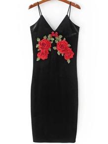 Black Flower Embroidered Velvet Cami Dress