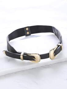 Black Double Metal Buckle Waist Belt