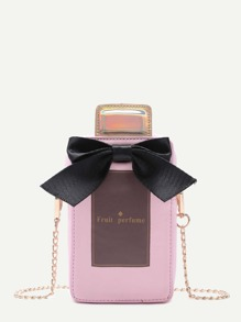 Pink PU Bow Perfume Crossbody Chain Bag