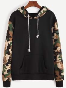Contrast Camo Print Drawstring Hooded Sweatshirt