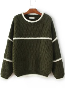Army Green Contrast Trim Crew Neck Sweater