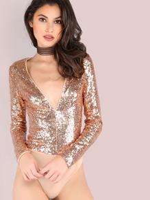 Deep V Long Sleeve Sequin Glam Bodysuit ROSE GOLD