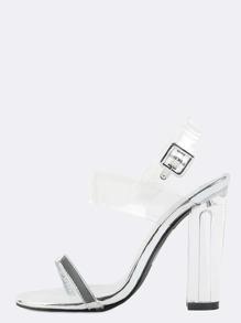 Metallic Clear Strap Perspex Heels SILVER